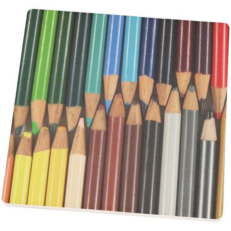 Color Your Life Pencils School Set of 4 Square Sandstone Coasters