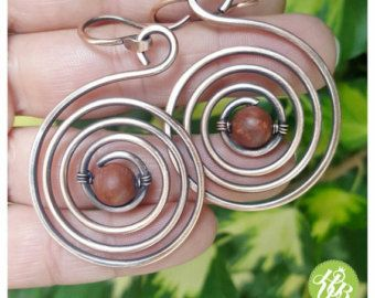 Wire wrapped spiral earrings copper wire by FromRONIKwithLove