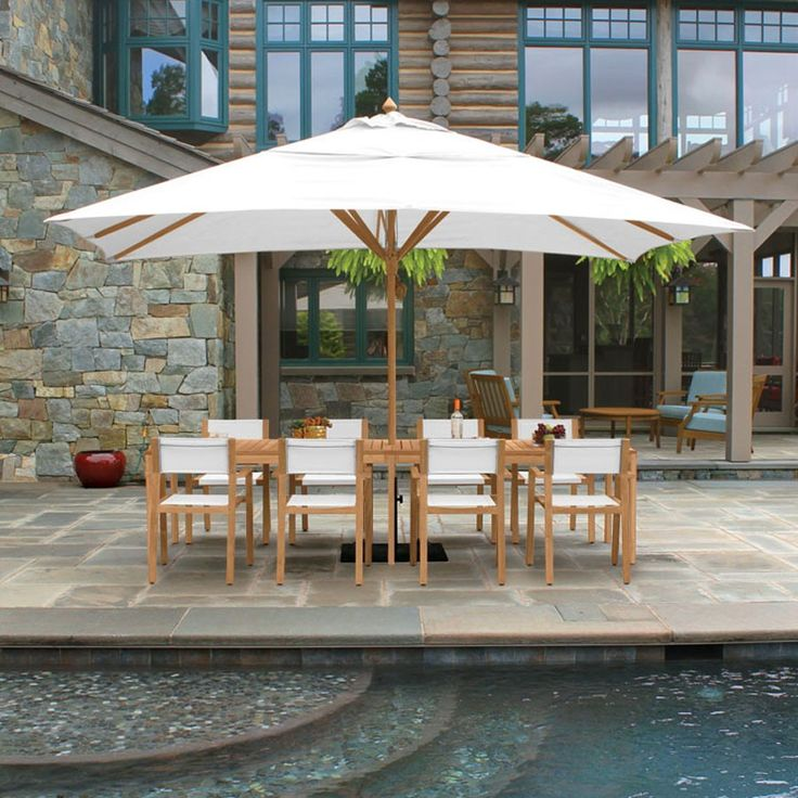 Dine Outdoors Any Time Of Day With Our UV Blocking, Water Resistant Teak  Umbrellas
