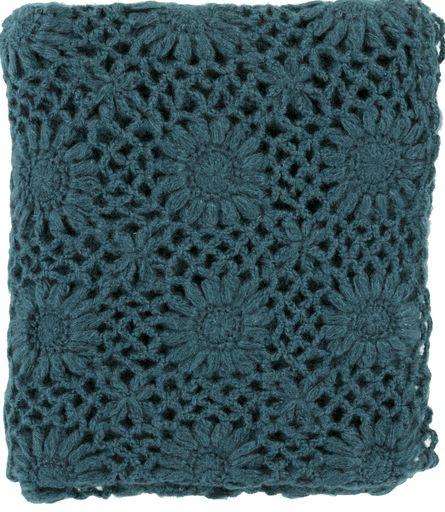 Teal Fleur Crochet Throw Blanket