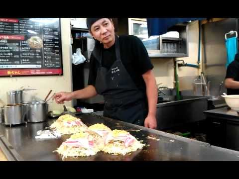 Hiroshima style Okonomiyaki for the perfect breakfast food.  This is the master of making Hiroshima style Okonomiyaki.