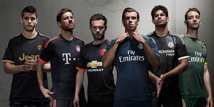 New third soccer jersey 2015 2016. Juventus, Bayern Munich, Manchester United, Real Madrid, Chelsea, AC Milan