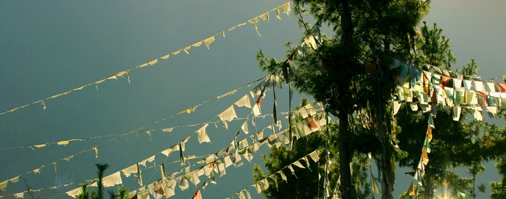 Normal sights in the hills of Darjeeling includes roads dotted with Buddhist prayer-flags.