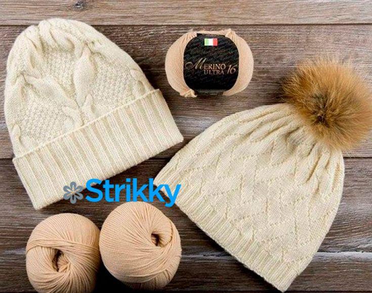 Предлагаем описание и 2 схемы с узорами для вязания модных женских шапок из шерсти на двух спицах и вязание шапки по кругу.