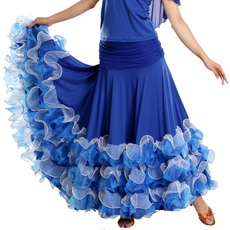 Юбки бальные танцы рюшами-отделка нижней современный бальное платье широкая юбка hb180