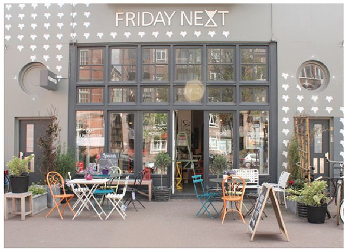 Friday Next, a concept store, cafe, interior design shop and gallery space in one in Amsterdam. A great place to be inspired, chill or work (overtoom 31) http://www.fridaynext.com/