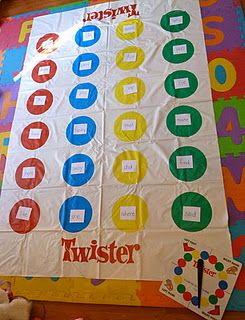 Learning Through Play w/Sight Word Twister - use with whatever concept your kids are learning (numbers, letters, shapes, math facts & more) What a fun way to learn! #education #learning #kids