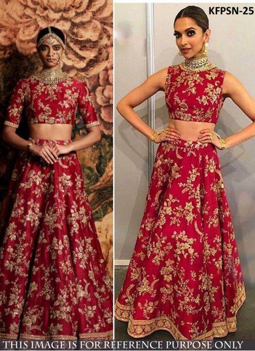 Deepika Joya Silk Red Lehenga Choli At Life Ok Screen Award