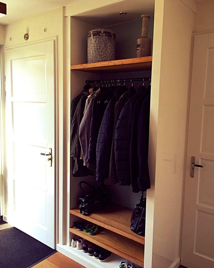 entryway, entree, hall, garderobe en schoenenvakken, eikenhout, wit hoogglans