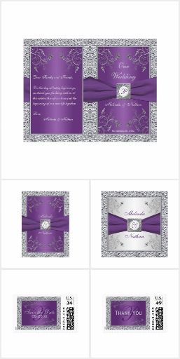 Purple Silver FAUX Foil Printed Ribbon This elegant wedding invitation suite is perfect for a purple and silver gray wedding theme. The main background color is purple that has a border of simulated silver foil. There are filigree type silver flowers as accents and a printed on purple ribbon with a faux engraved look medallion with monogram on it. Please note that if you want your wording done in the silver text that appears on the banner above, email niteowlstudio@gmail.com to request it…