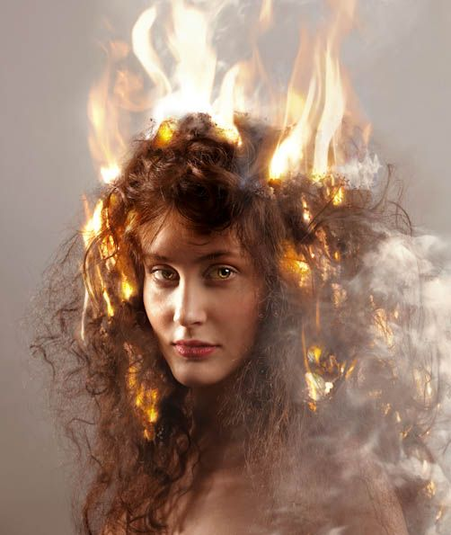 Aaron Nace #Photography hair in flames  #surreal