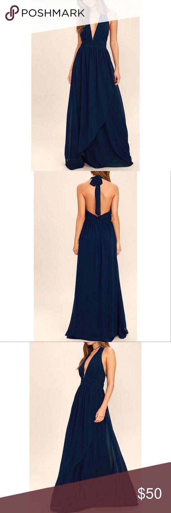 Stop and Stare Navy Blue Halter Maxi Dress deep v neck, halter back. long, formal dress. size extra-small. navy blue. never worn Lulu's Dresses Maxi