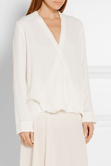 Ivory crepe Concealed snap fastening at front 100% viscose; trim: 100% silk Dry clean