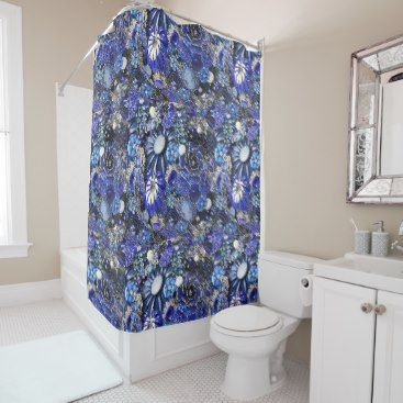 """Title : 107, Bling, Bouquet Blue Gemstone Print Shower Curtain  Description : My Customized Bling Art Designs, are flat prints. By using photo enhancement, shadowing, color-blending and the alteration of angles, I create the """"LOOK"""" of specific textures. (The same principal is used in 3-D Image Posters). I can create the desired look of Glitter, Sparkle, Reflection, but if you are not satisfied there is a 100% Guarantee. To help you find similar Bling Designs, use such keywords, as Diamonds…"""