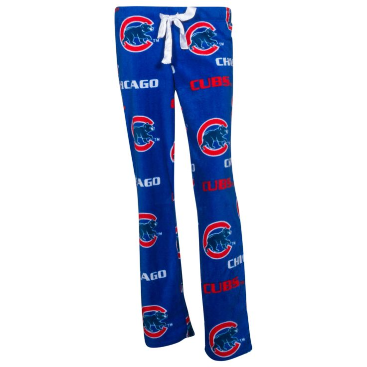 Chicago Cubs Women's Blue Repeated Logo Micro Fleece Pajama Pants by College Concepts #Chicago #Cubs #ChicagoCubs