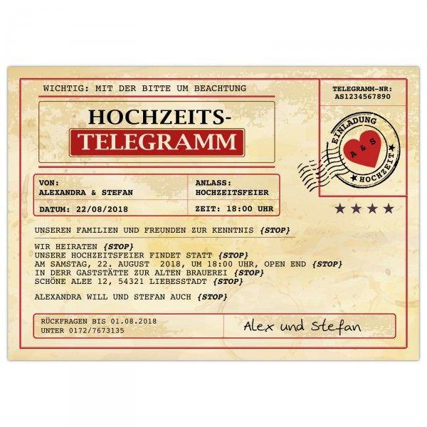 Exklusiv Mit UV Farben Und Metalliceffekt U2013 Einladungskarten Zur Hochzeit  Als Telegramm   Kartenparadies Koeln.de   Individuelle Einladungskarten Für  ...