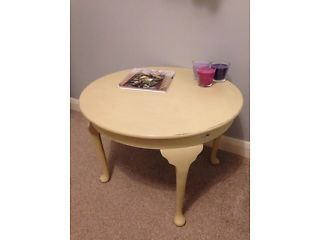 REDUCED Annie Sloan old ochre shabby chic low round table Charing Cross Picture 1