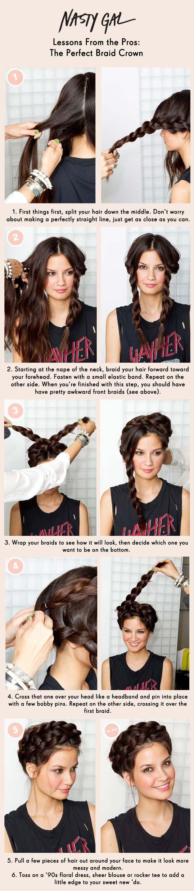 Cool and Easy DIY Hairstyles - Braid Crown - Quick and Easy Ideas for Back to School Styles for Medium, Short and Long Hair - Fun Tips and Best Step by Step Tutorials for Teens, Prom, Weddings, Special Occasions and Work. Up dos, Braids, Top Knots and Buns, Super Summer Looks http://diyprojectsforteens.com/diy-cool-easy-hairstyles
