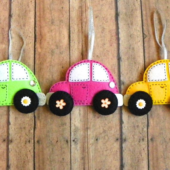 Personalized Felt Car Christmas Ornament by PaisleyMoose on Etsy