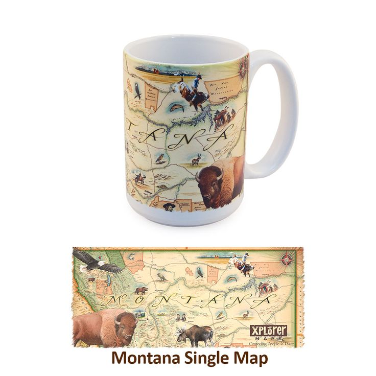 California Map Hwy 99%0A Why not stare at a beautiful Montana Landscape while you sip your coffee or  tea  The Xplorer Maps Montana Mugs are designed around the beautiful  Montana
