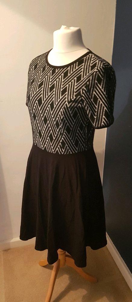 dc996cdfb78f Dorothy Perkins Size 14 Smart Black Monochrome Dress Work Skater Dress  Print  fashion  clothing