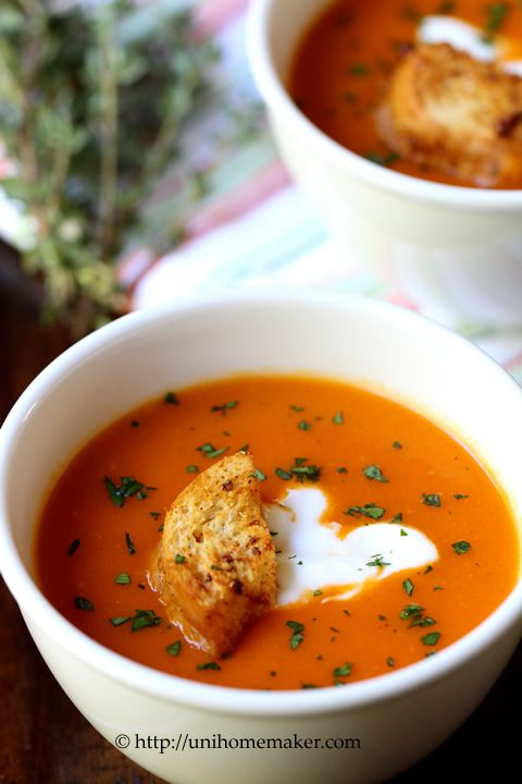 Roasted Red Pepper Soup 2points +  7servings 1 cup=100cal including ff sour cream Consider adding 2stalks of celery, ?bay leaf,? Cumin & garam masala (see recipe)