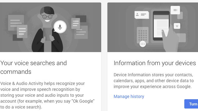 Google tracks a ton of information about what you've done with their products, which they use to make suggestions for products like Google Now and autocomplete. They recently updated their Account History page with the ability to view or pause or voice search history, as well as other information from your mobile devices.