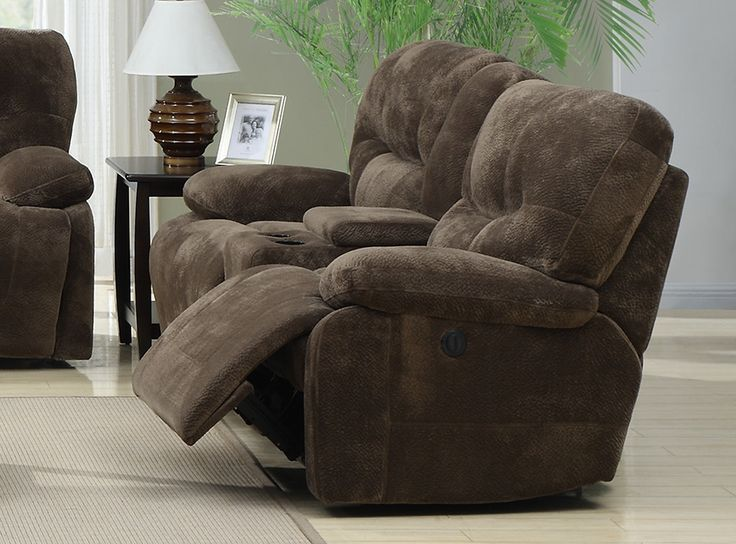 Harrison Power Recliner Loveseat w/Console from Emerald Home Furnishings : microfiber reclining loveseat with console - islam-shia.org