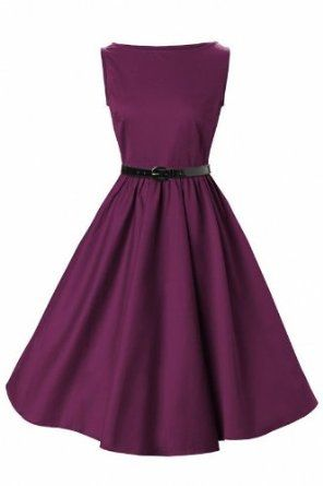 Lindy Bop Classy Vintage Audrey Hepburn Style 1950′s Rockabilly Swing Evening Dress: Clothing