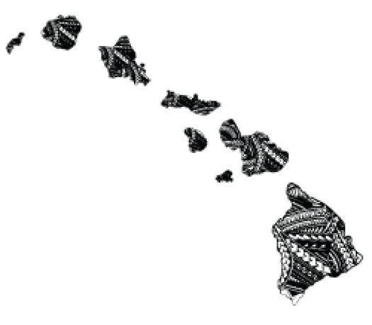 TRIBAL ISLAND B/W FLAG HAWAIIAN MAP Hawaii Decal Car / Truck Window Sticker picclick.com