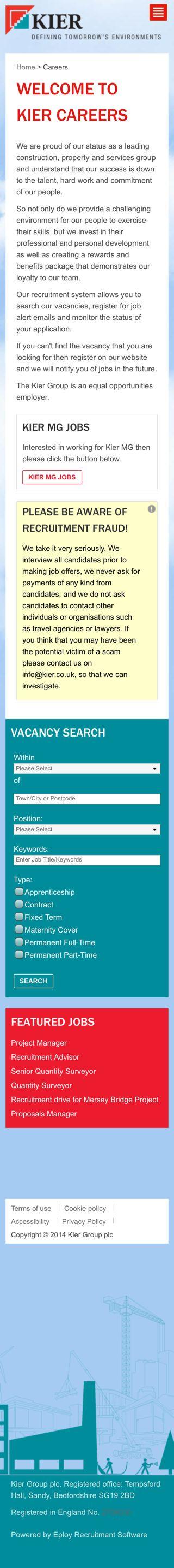 Kier's mobile-responsive candidate portal