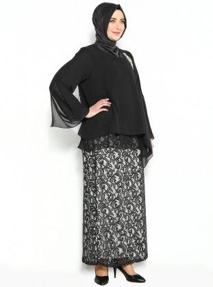Payet Detaylı Abiye Elbise - Siyah - He&amp De :: Zinde Market
