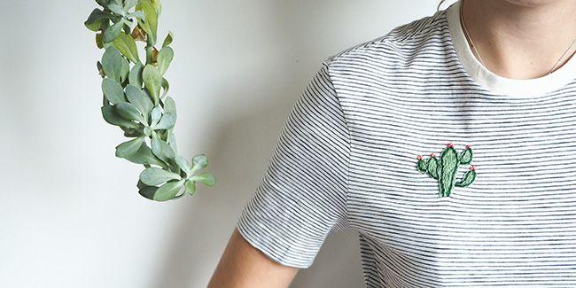 broder un cactus sur un t shirt broderie broderie. Black Bedroom Furniture Sets. Home Design Ideas