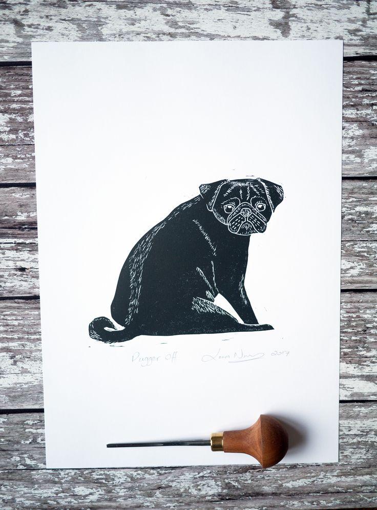 Pugger off black pug lino cut print - The Black Pug Press