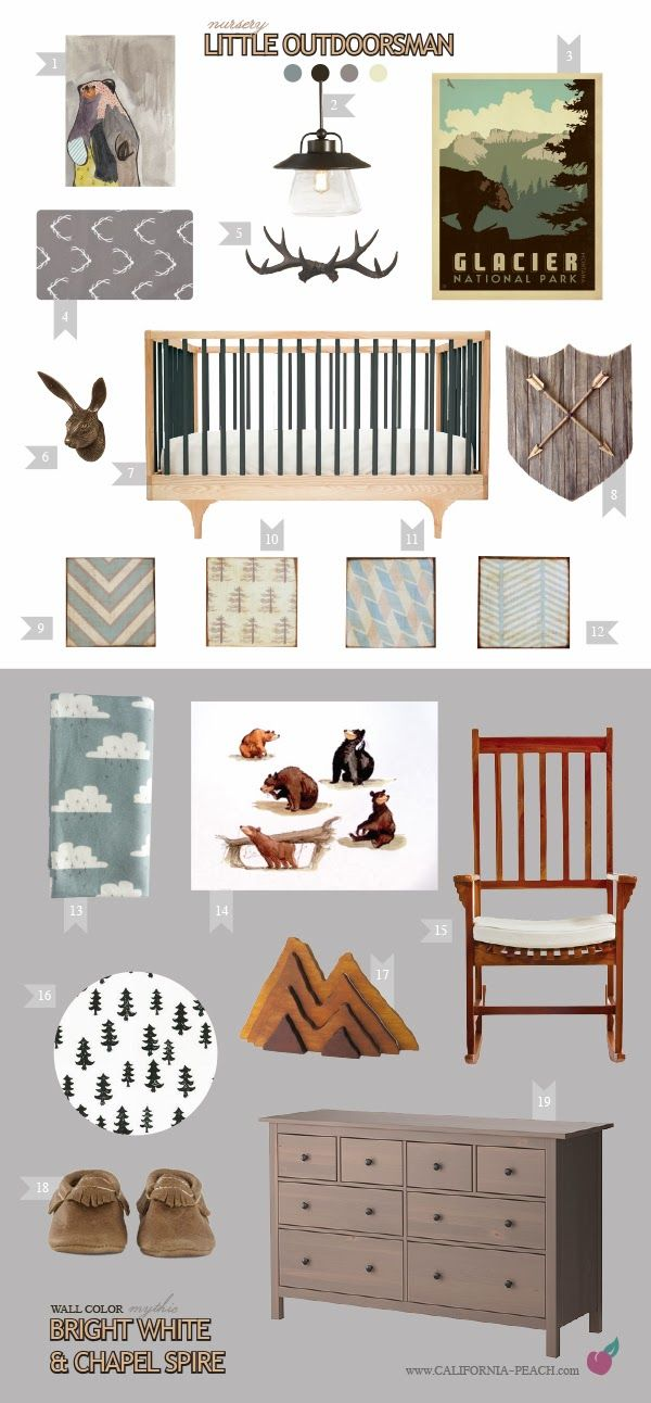 California Peach: Little Outdoorsman | Nursery   || Grey, White, Black, Baby Room, Rabbit Forestry Hook, Anthropologie, Caravan Crib, Outdoors, Camping, Camp, Nature, Yosemite, Glacier, Forest, Woodland, Woods, Marc Davis, Frontier Land, Bears, Disney, Wood, Bear, Bears, Clouds, Art, Antlers, Antler, Arrows, Arrow, Ikea, Natural, Craftsman, Girl, Boy, Neutral, Eco Friendly, Modern, Mythic Paint, Nursery, Baby Room, Inspiration, Decor, Interior Design, Style Board, Organic