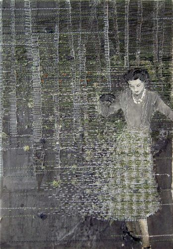 Hinke Schreuders  works on paper #14  yarn, felt and ink on paper on canvas