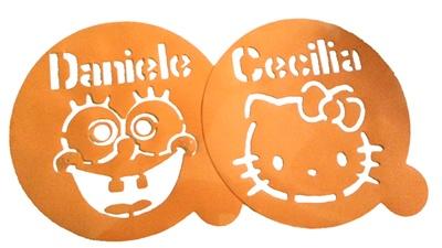 Stencil per decorare torte personalizzati con personaggio e nome ...