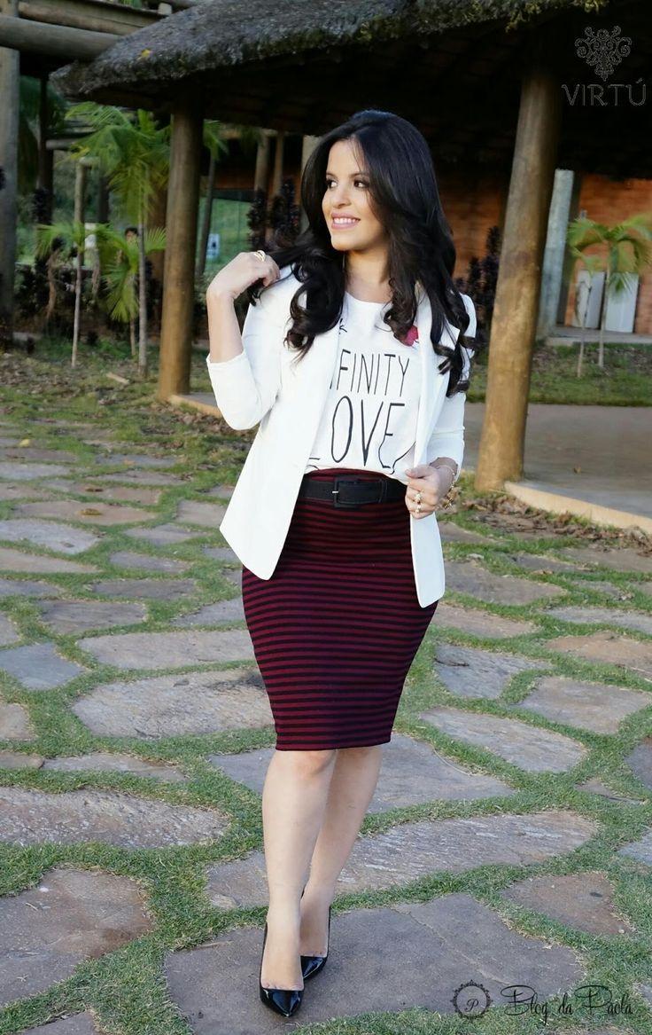 Blog da Paola: Look do Dia: T-shirt com saia lápis e blazer