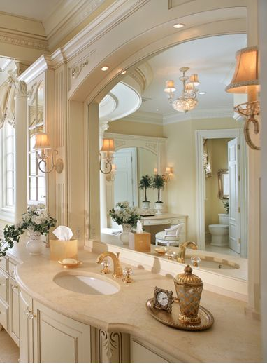 Mignon By Eban Luxurious And Elegant Gold Bathroom Furniture With Marble Vanity Big Mirror Wall Lamp Design
