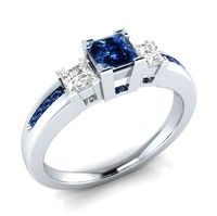 Wish | Noble 925 Sterling Silver Princess Cut Blue & White Sapphire Engagement Ring Size 6 7 8 9 10