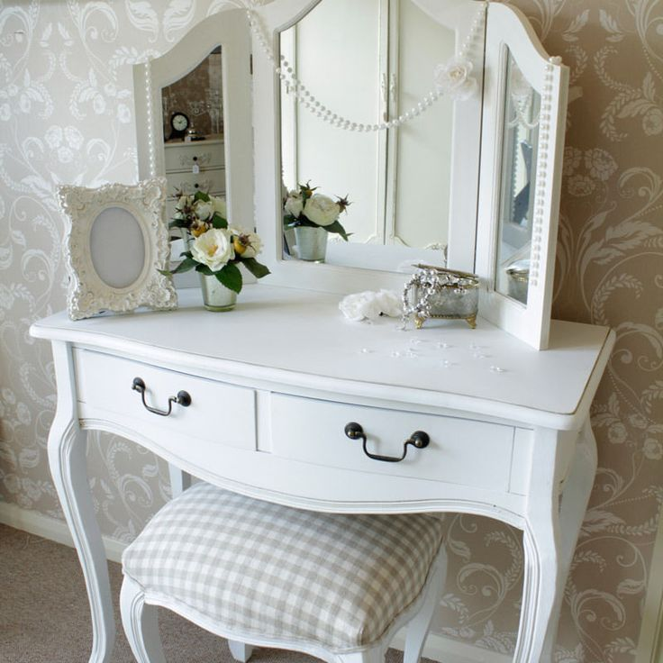 Dressing table mirror stool shabby french style vintage chic white bedroom set
