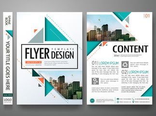 Flyers design template vector.Brochure report business magazine poster.Abstract green cover book portfolio presentation.Flat orange triangle on poster design layout.City design on A4 brochure layout.