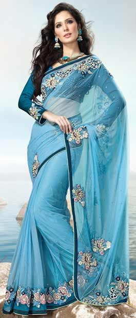 Aqua Blue Net #Saree with Blouse @ $158.43 | Shop Here: http://www.utsavfashion.com/store/sarees-large.aspx?icode=sry184