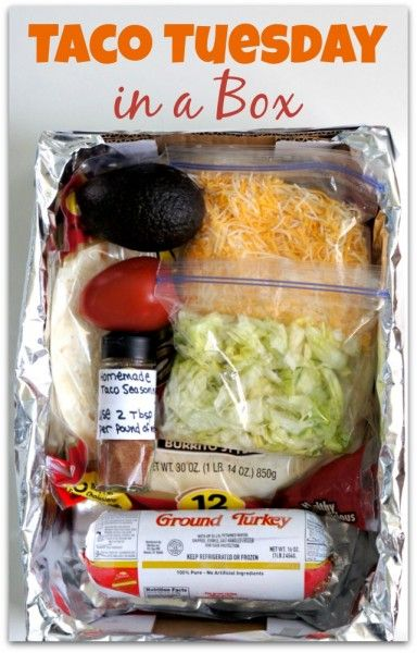 Taco Tuesday in a box! A fun and easy way to bring dinner to a friend.
