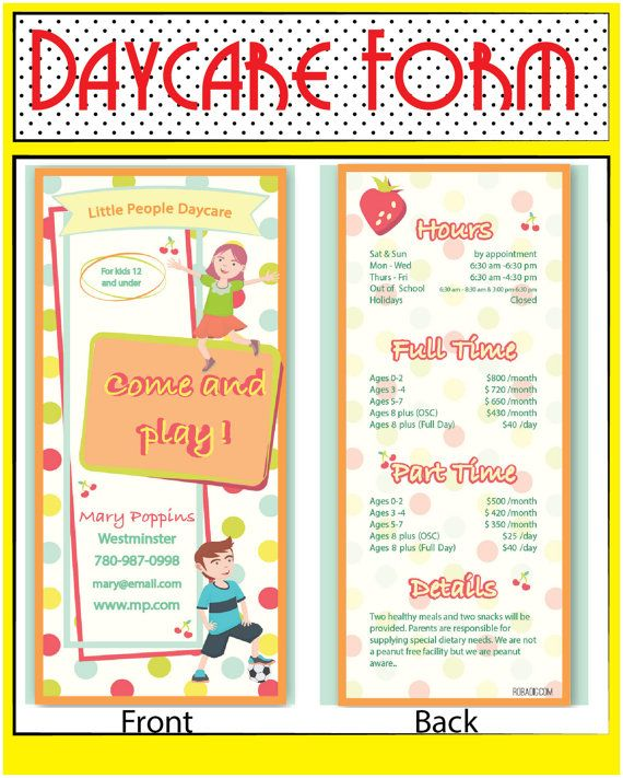 12 best Education, Dayhome, Daycare \ Homeschool images on - daycare flyer