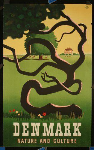 Vintage Travel Poster - Denmark - Nature and Culture - by Hillerød Frederiksborg Schiønning, 1950.