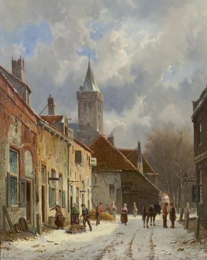 Adrianus  Eversen | 1818-1897 - A snow-covered street in Naarden