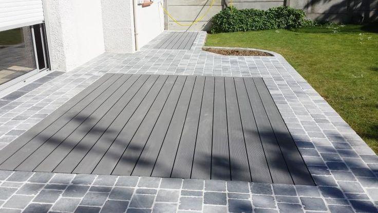 Terrasse pierre bleue bois composite