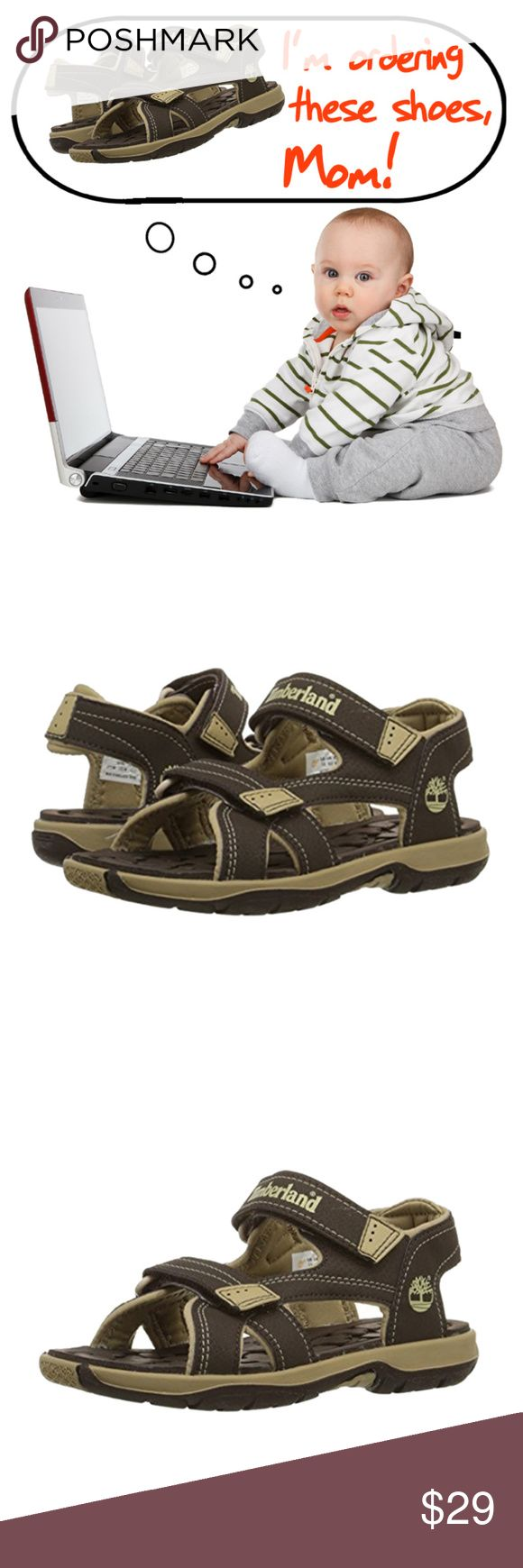 Timberland Mad River 2 Strap Baby Boy Sandals Order these Timberland Mad River 2 Strap Sandals for your baby before he does.  Material: Synthetic sole and upper.  Features: Water-friendly athletic sandal featuring textured footbed and two adjustable straps with hook-and-loop closures, EVA foam footbed with odor-control properties, Non-marking outsole  Color: Brown Size: US 4M Toddler's, EU 20, JP 12 , UK 3.5 Condition: Brand New, manufacturer packaged and sealed. Timberland Shoes Sandals…