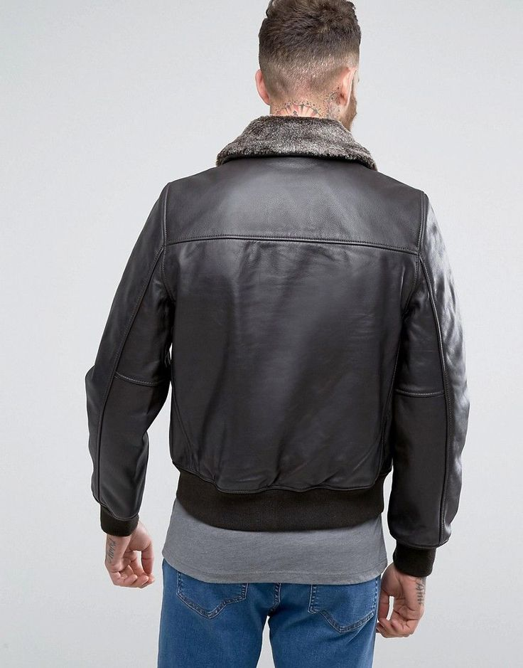 Schott Leather Flight Jacket Detachable Faux Fur Collar Slim Fit in Br